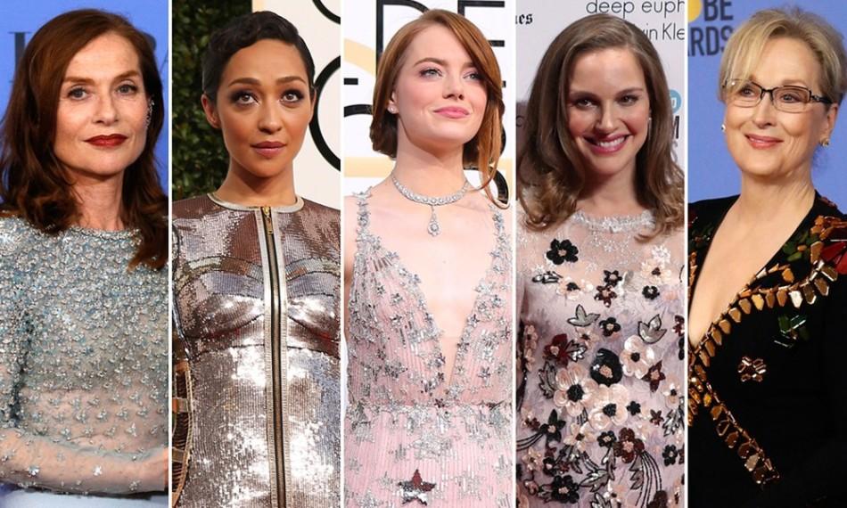 Indicadas ao Oscar de melhor atriz em 2017; a partir da esquerda: Isabelle Huppert ('Elle'), Ruth Negga ('Loving'), Natalie Portman ('Jackie'), Emma Stone ('La la land') e Meryl Streep ('Florence: Quem é essa mulher') (Foto: Reuters)